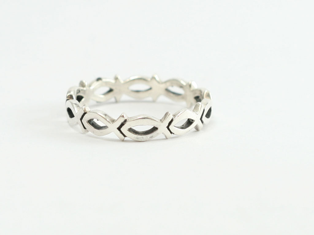 Continuous Cutout Ichthus Fish Sterling Silver Christian Ring