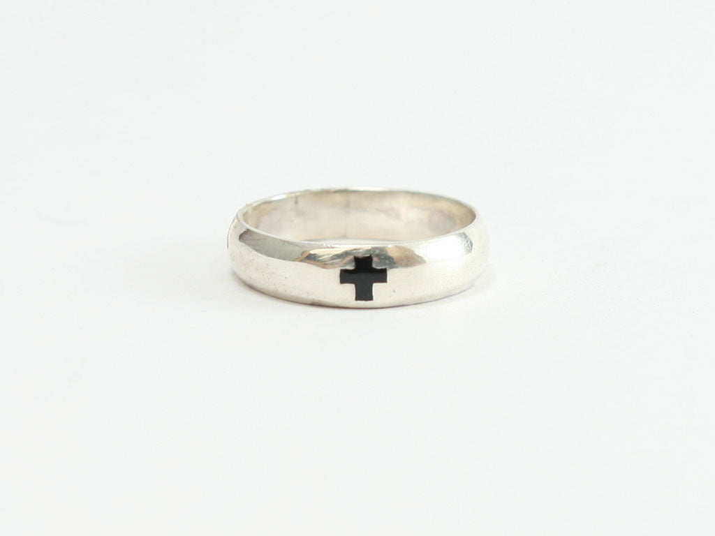 Cross Sterling Silver Christian Ring with Black Enamel Cross