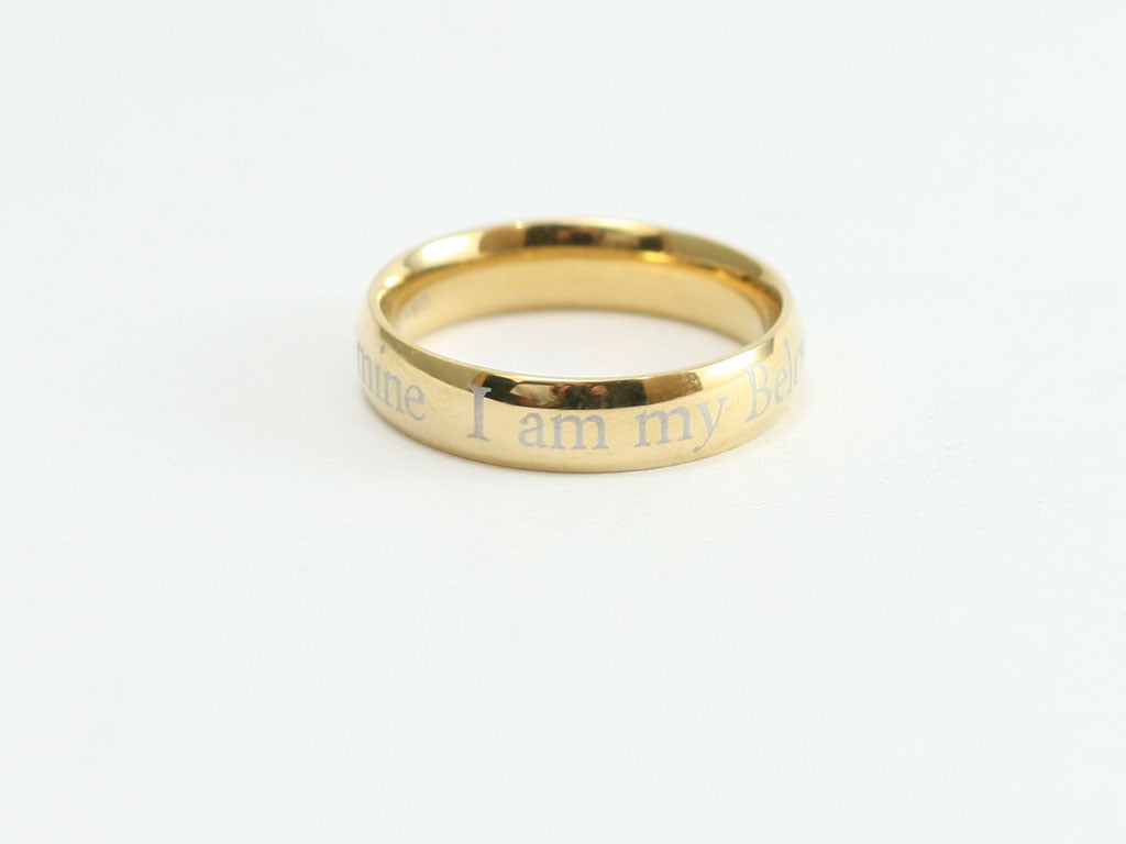 I Am My Beloved's Gold Stainless Ring