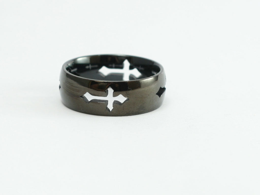 Stainless Black Cut Out Cross Ring