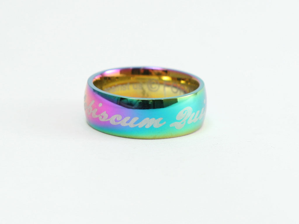 God is With Us in Latin Stainless Ring