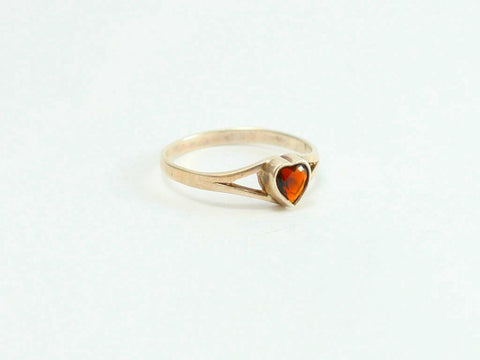 Simulated ruby heart Sterling Ring