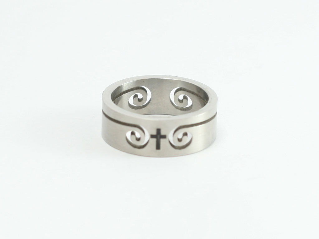 Swirl cutouts with Cross Stainless Ring