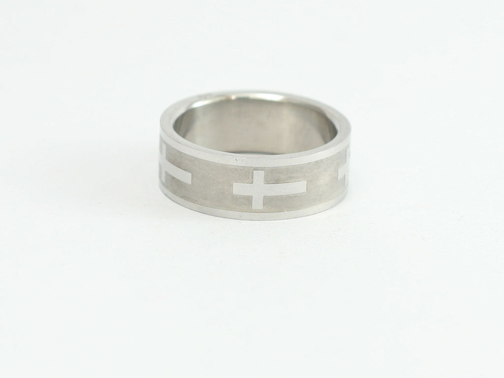 Matte Finish Cross Band Ring