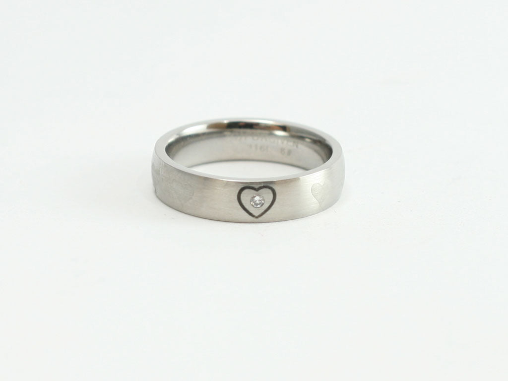 Heart w/Crystal Stone Band Ring