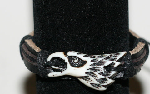 Carved Eagle Christian Bracelet in Leather