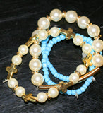 Cross and Pearl Stretch Bracelet