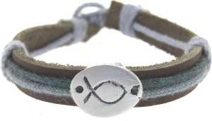Ichthus Bracelet Leather with Cording