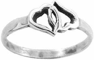 Locked Hearts Sterling Christian Ring