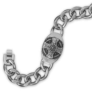 Bold Men's Stainless Steel Oval Cross I.D, Bracelet 9 inches
