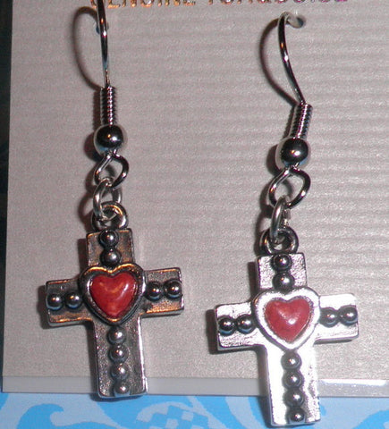 Red Heart/Cross Earrings
