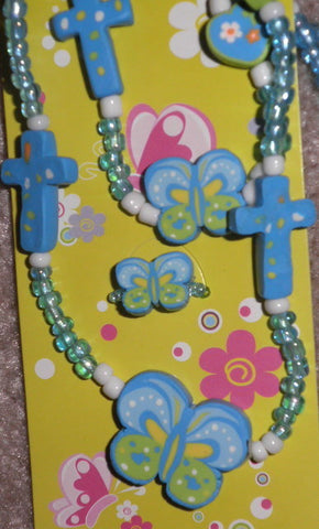 Fimo Elastic Cross Necklace, Bracelet, and Ring SET