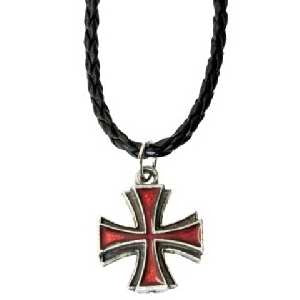 Red Maltese Cross on Braided Cord