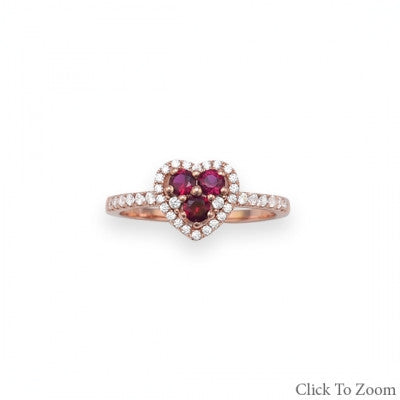 Rose Gold Zircon Heart Ring