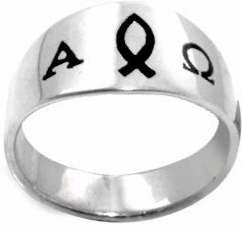 Alpha Omega Ichthus / Fish Christian Stainless Steel Ring