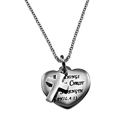 Jesus is My Strength Heart Christian Necklace