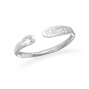 Adjustable Faith Rhodium Ring