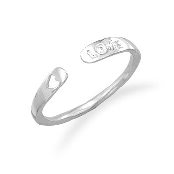 Adjustable LOVE Rhodium Ring