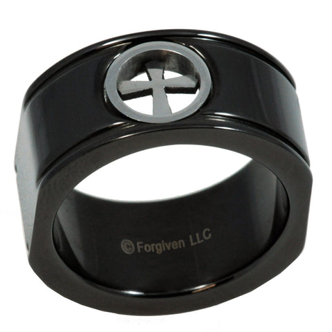 Black Concave Cross Stainless Ring