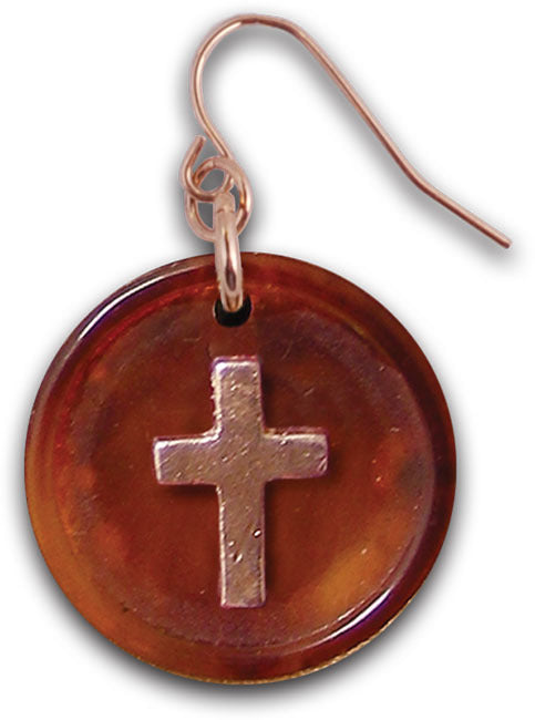 Cross Button Christian Earrings