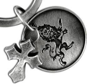 brushed steel cross and lion coin (flip engraved Every knee will bow, every tongue confess - Jesus Christ is Lord) Key ring