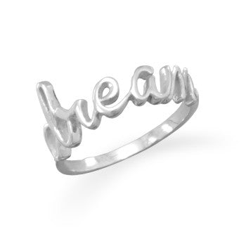 Sterling silver DREAM script Ring