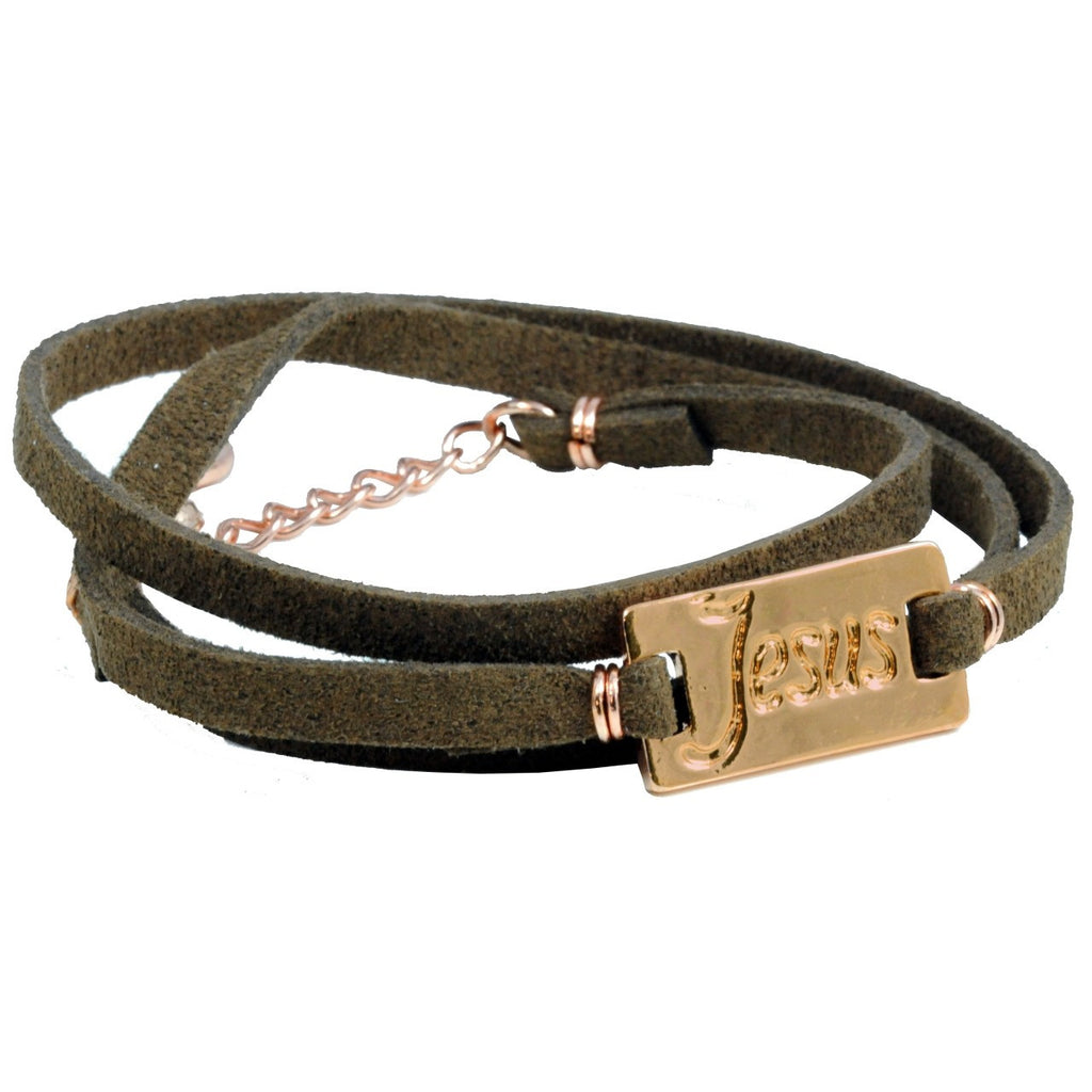 JESUS ROSE GOLD finish tag LEATHER bracelet