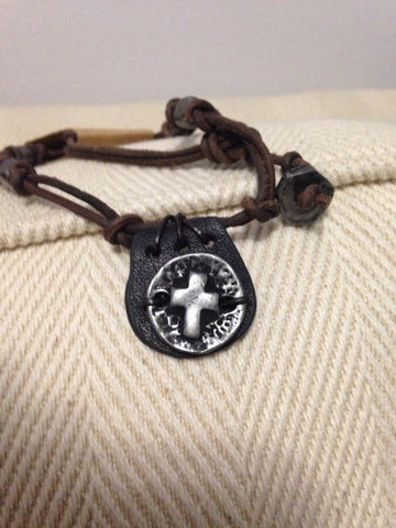 Adjustable Leather Cross Fob Necklace