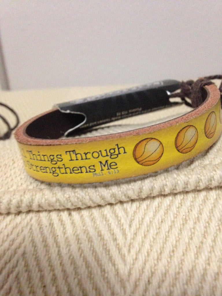 I can do all Things Sports Leather Bracelet BASKETBALL