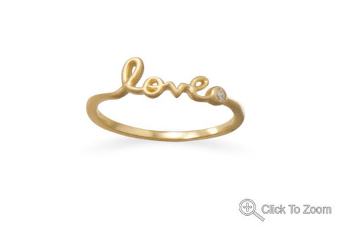 14 karat gold Love script Ring