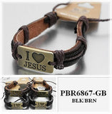 """I love Jesus"" Brass TAG Plate Leather Bracelet"