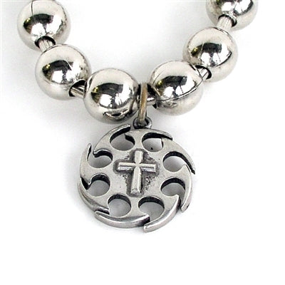 Large Sprocket Cross Necklace