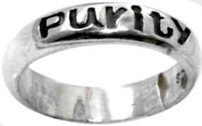 Purity Carved Letters Sterling Silver Christian Ring