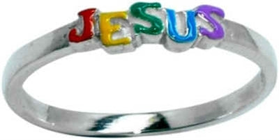 Jesus Rainbow Enameled Ring SR499