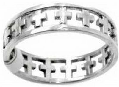 Cut Out Crosses Sterling Silver Christian Ring