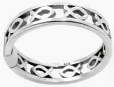 Narrow Cutout Fish/Ichthus Ring