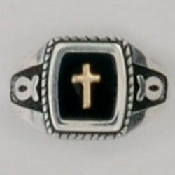 Gold Cross Double Fish/Ichthus Symbol Ring