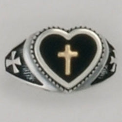 Gold Cross w/in Heart Sterling Ring
