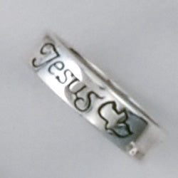 Small Jesus/Spirit STERLING Ring