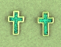 Mini Turquoise Inlaid Crosses Christian Earrings
