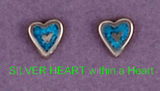 Mini Turquoise Inlaid Hearts Christian Earrings