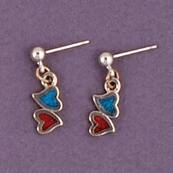 Mini Dangle Inlaid Red/Blue Double Hearts Earrings
