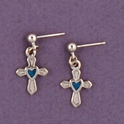 Mini Dangle Cross with Inlaid Blue Heart Earrings
