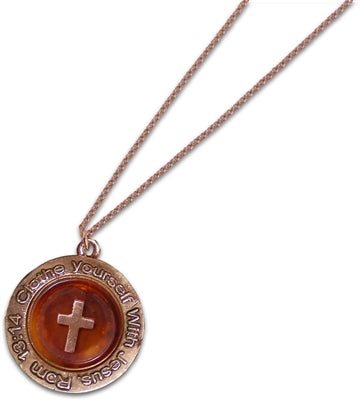 Cross Button Christian Necklace