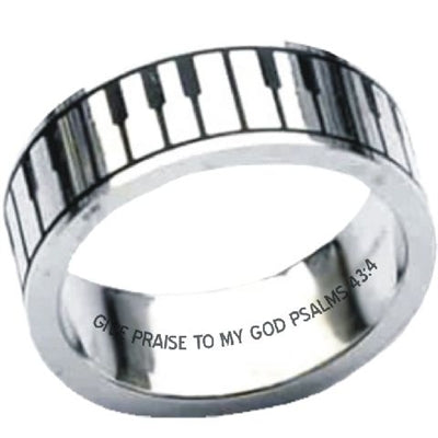 Music Keyboard Christian Stainless Ring