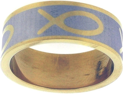 Fish / Ichthus Gold Finish Christian Ring