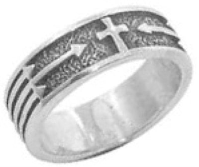 Cross Arrows Sterling Silver Christian Ring