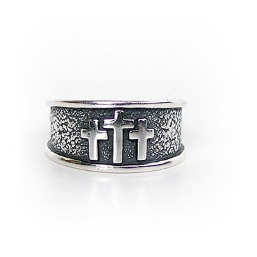 Three 3 Crosses Large Sterling Silver Christian ring