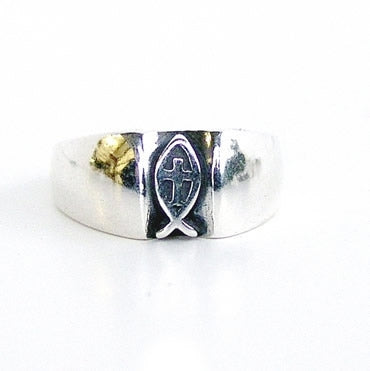 Lg Fish/Cross Sterling Ring