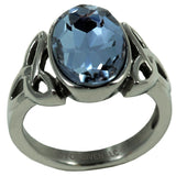 Trinity Ring with Blue Crystal